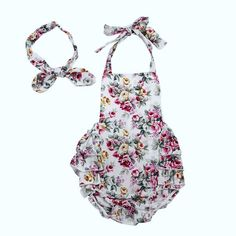 2pcs Fashion Design Toddler Infant Baby Girls Clothes Set Summer Floral Backless Romper Jumpsuit Headband Infant Girls Clothing To Prevent And Cure Diseases Girls' Baby Clothing Clothing Sets