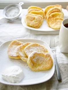 Try Sochi Winter Olympics : Syrniki (Farmers Cheese Pancakes)! You'll just need 8 oz. farmers cheese, 3 eggs, 1 cup all-purpose flour, plus more for. Cheese Pancakes, Pancakes And Waffles, Ukrainian Recipes, Russian Recipes, Croatian Recipes, Hungarian Recipes, Russian Dishes, Russian Foods, Farmers Cheese