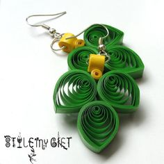 Filigree Leaves Paper Quilled Earrings by StyleMyGift on Etsy, $7.00