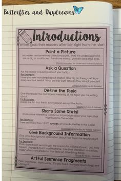 Informational Writing Introductions Informational Writing Unit {I& the Expert!} Transition Words and Phrases for Informational Writing. Writing Notebook Anchor Charts, Full Page Anchor Charts, Writing Planners Expository Writing, Informational Writing, Essay Writing, Writing Notebook, Informative Writing, Writing Process, Nonfiction, Owl Writing, Literary Essay