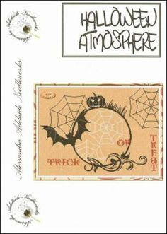 """Halloween Atmosphere"" is the title of this wonderful Halloween cross stitch Pattern from Alessandra Adelaide that is stitch on fabric of your choice with DMC threads."