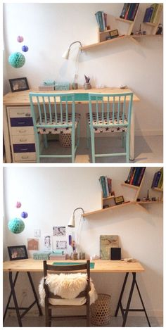 office makeover • DIY office • IKEA tablelegs • Room makeover • Teenage office- Caroline L K