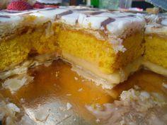 receitinhas da belinha gulosa: Bolo folhado de laranja e cenoura com creme de pasteleiro e glacê.