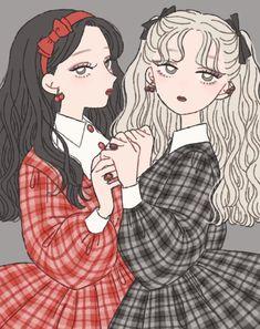 Cartoon Outfits, Anime Outfits, Yuri Anime, Anime Art, Bff Drawings, Korean Art, Cartoon Art Styles, Kawaii Art, Cute Cartoon Wallpapers