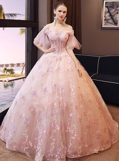 In Stock:Ship in 48 hours Ready To Ship Off The Shoulder Pink Wedding Dress Quince Dresses, Gala Dresses, Quinceanera Dresses, Formal Dresses, Pink Wedding Dresses, Luxury Wedding Dress, Bridesmaid Gowns, Beautiful Long Dresses, Pretty Dresses