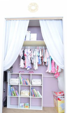Love the idea of removing sliding doors and adding curtains to a nursery closet!