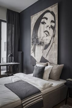 Grey monochrome bedroom