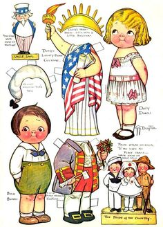 I think these vintage Dollie Dingle, Baby Bumps July 4th paper dolls are very sweet! <> 'Dolly Dingle first appeared in 1913 in The Pictorial Review and continued though 1933. Easily the most popular paper doll of her time, Dolly Dingle was actually made into a doll, painted on china, used on stationery and other commercial items.' (de Grummond Children's Literature Collection)
