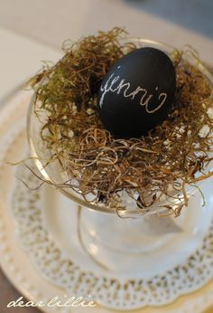 chalk painted eggs