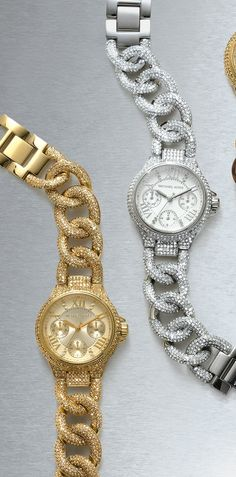 So pretty. Love these Michael Kors crystal encrusted chain link bracelet watches.