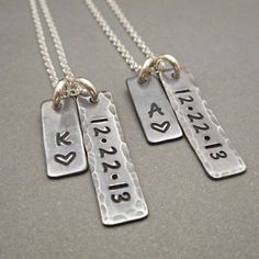 Personalized Long Distance His and Hers His and Hers Jewelry Jewelry... ($94) ❤ liked on Polyvore featuring jewelry, grey, necklaces, weddings, hand stamped jewelry, charm jewelry, set jewelry, letter charms and initial charms