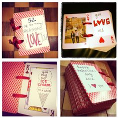 """Finally did one of my DIYs...""""52 reasons i love you"""" book using a deck of cards."""