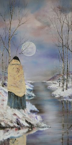 By Caleb Pirtle III. Yellow Blanket Moon is a touching portrait of the past by Jeanne Roroex Bridges. She has captured those moments of loneliness and heartbreak when the Five Civilized Tribes were uprooted from their homelands and marched West by the government edicts of President Andrew Jackson.  In my book, Trail of Broken Promises, I wrote: The Choctaws were following a long, treacherous pathway that would lead them away from the land of their fathers and on toward the land of promise,