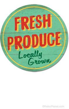 image of Large Fresh Produce Tin Sign
