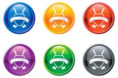 golf royalty free vector icon set on round shiny buttons vector art illustration