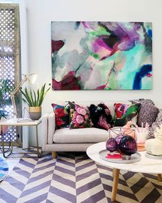 """Genoa by @mwestonart, sofa & coffee table by @harpersproject, rug by @mrfentonsrugs... Everything available through us! #fentonandfenton #interiors…"""