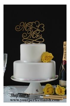 Becoming Mr & Mrs is what's it's all about. Gold Mr and Mrs wedding cake topper