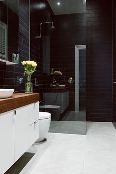 black bathroom wall tile, white floor, Yarraville Home Black Tile Bathrooms, Gray And White Bathroom, Modern Bathrooms, Black Wall Tiles, Room Wall Tiles, Laundry In Bathroom, Simple Bathroom, Bathroom Faucets, Bathroom Wall