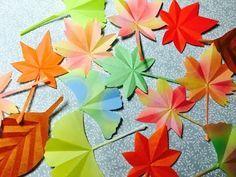 折り紙で紅葉(もみじ・いちょう・葉っぱ)を切りました - YouTube