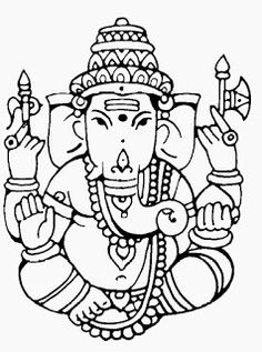Best Coloring: Ganesha clip art coloring pages - Amazing Coloring sheets - Ganesha Drawing, Ganesha Tattoo, Ganesha Painting, Tanjore Painting, Ganesha Art, Lord Ganesha, Ganesh Idol, Shri Ganesh, Outline Drawings