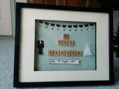 Mr & Mrs Parker :-) handmade scrabble frame for best friend's wedding Scrabble Crafts, Scrabble Art, Scrabble Letters, Best Friend Wedding, Decor Ideas, Gift Ideas, Reuse Recycle, Diy Wedding Decorations, Box Frames