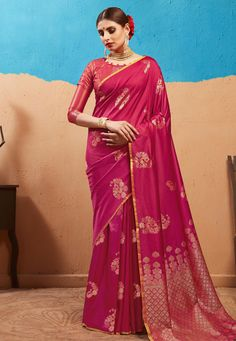 Buy Magenta Kanjivaram Festival Wear Saree 180847 with blouse online at lowest price from vast collection of sarees at Indianclothstore.com. Kanjivaram Sarees, Long Cut, Bridal Blouse Designs, Long Blouse, Blouse Online, How To Dye Fabric, Color Shades, Festival Wear, Magenta
