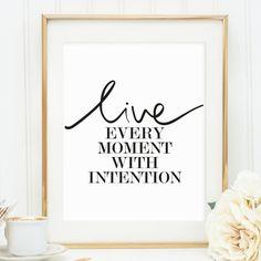 Poster, Kunstdruck, Sprücheposter, Print, Artprint, Wallart: Live every moment…