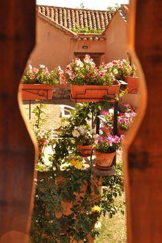 Un detalle desde el corredor del Albergue donde se ven nuestras plantas y jardineras... en primavera y verano es una maravilla!