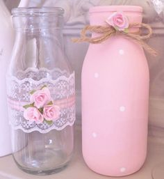 Shabby Chic Milk Bottles