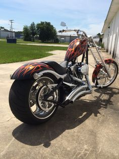 Big Dog motorcycles K9 Chopper with orange on black flame paint