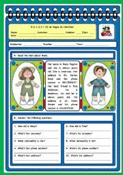 PERSONAL INFORMATION English Grammar Quiz, English Exercises, Reading Test, English Reading, Teacher Binder, Vocabulary Worksheets, Teaching English, Reading Comprehension, Esl