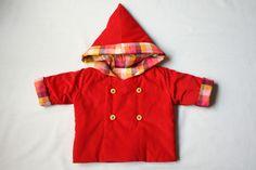 manteau mixte rouge à capuche pointue pour bébé : Mode Bébé par timounalily