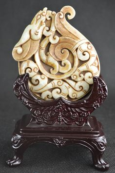 Antique Chinese Jade Dragon Carving with Stand