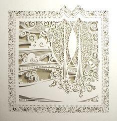 Cut Paper Designs from Sara Burgess Incredible skill: Intricate Cut Paper Designs from Sara Burgess.Incredible skill: Intricate Cut Paper Designs from Sara Burgess. Kirigami, Paper Cutting, Cut Paper, Paper Lace, White Paper, Paper Press, Paper Cut Design, Paper Artwork, Book Art