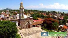 Aerial: Downtown Ajijic Mexico (Church, Plaza, Mountains & Lake)