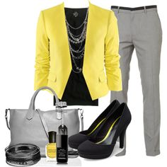 """""""Office: Black, Grey & Yellow"""" by heather-rolin on Polyvore. Wish I could wear this to work!!"""