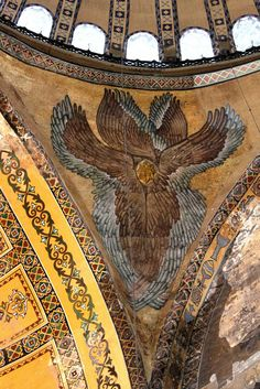 https://flic.kr/p/ag9oRU | Istanbul: Hagia Sophia | In the spandrels between the arches of the main dome, there are mosics of Seraphim (six-winged angelic figures). The two on the Western side are recreations of the 19th century. The stunning Seraph in view here is located in the Southeast corner and is one of the original ones going back to Byzantine times.  The Hagia Sophia was the largest and most admired cathedral in Christianity for almost a thousand years. The current building was…