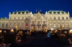 Christmas Market in front of Belvedere castle in Vienna, Austria Vienna Austria, Live For Yourself, Christmas Lights, Dreaming Of You, Castle, Louvre, Mansions, House Styles, World