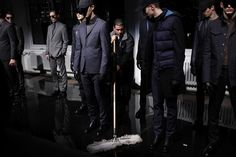 Models wearing DKNY during the DKNY Men Fall 2012 presentation during Mercedes-Benz Fashion Week on February 8, 2012 in New York City.
