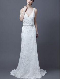 Lace V-Neckline Sheath Wedding Dress with Tucked Bodice - Bridal Gowns - RainingBlossoms
