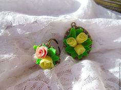 Желтые розы.Кольцо и кулон. - желтый,розы ручной работы,полимерная глина