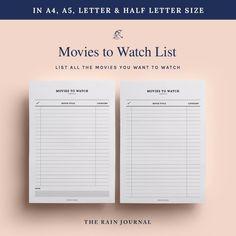 Printable Movie Checklist Movies to Watch List Movie | Etsy To Do Lists Printable, Printable Planner, Printables, Movie Tracker, Chore Checklist, Desk Stationery, Movie To Watch List, Business Planner, Planner Inserts