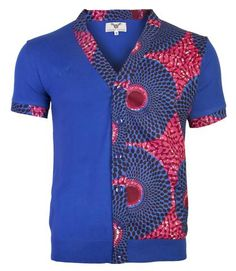 Men's Slim fit short sleeved fully fashioned cardigan with African print front panel insert, contrast placket. Embroidered logo on chest. Ohema Ohene by British born designer Abenaa Pokuaa. African Attire, African Wear, African Dress, African Inspired Fashion, African Print Fashion, 50s Style Men, Nigerian Men Fashion, Style Africain, African Shirts