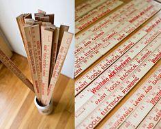 Weekend Project: Wooden Yardstick/Ruler DIY's #yardsticks #rulers