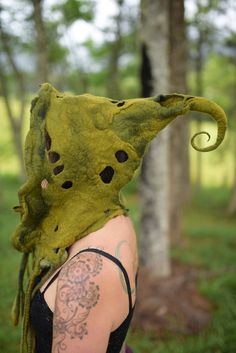 Felt Melted Woodland Nymph Fairy Pixie Hooded Hat Bonnet With Curly Tipped Point OOAK