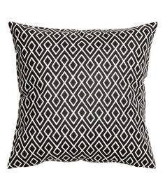 White/charcoal gray. Cushion cover in woven cotton fabric with a printed pattern. Concealed zip.