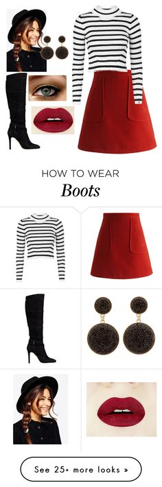 """Red Skirt and Black Boots"" by arrowlily on Polyvore featuring Chicwish, GUESS, Topshop, ASOS, Charlotte Russe, women's clothing, women, female, woman and misses"