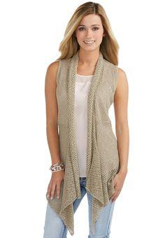 Long Crochet Draped Vest Sweaters Cato Fashions