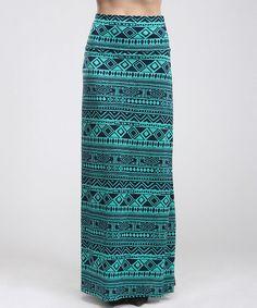 Look at this #zulilyfind! Teal & Navy Tribal Maxi Skirt - Women by BOLD & BEAUTIFUL #zulilyfinds