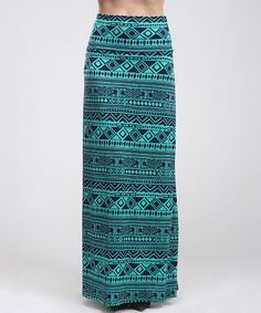 Look at this #zulilyfind! Teal & Navy Tribal Maxi Skirt - Women by BOLD & BEAUTIFUL #zulilyfinds